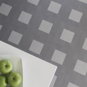 Dark grey patterned flooring in a kitchen