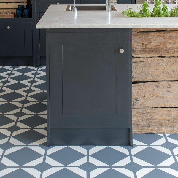 Kitchen with blue flooring tiles