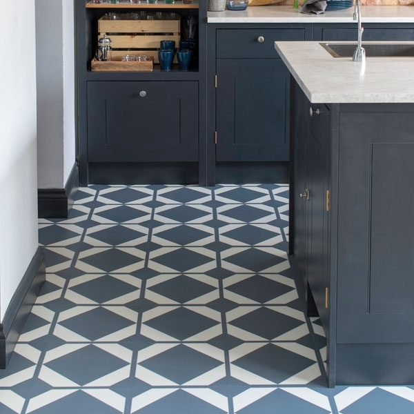 modern kitchen with blue flooring tiles
