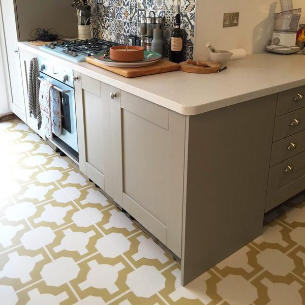 Kitchen with gold designer floor