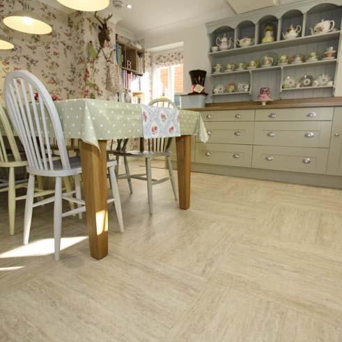 Sandstone effect floor in a kitchen