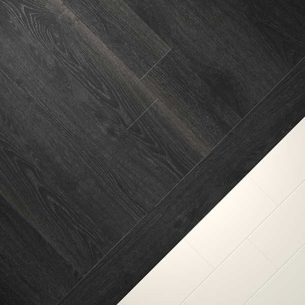 black wood vinyl combo with cream tiles