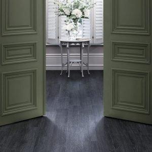 black wood effect in a hallway