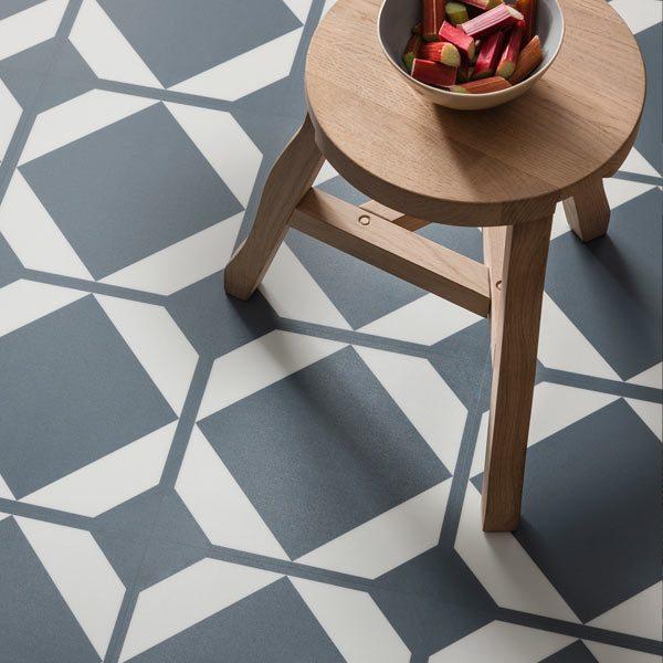 Blue grey floor tiles