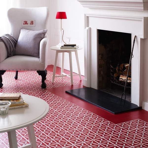 Red flooring in a kitchen