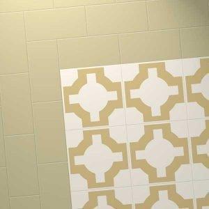combination with beige parquet design