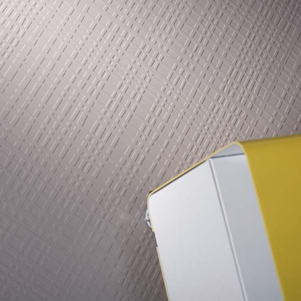 Beige rubber floor tile with grid pattern