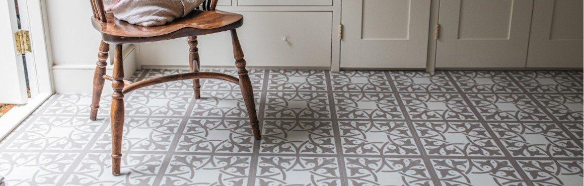 beige neutral patterned flooring in pantry