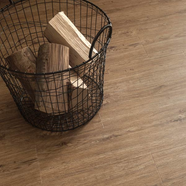 Wooden flooring with log basket