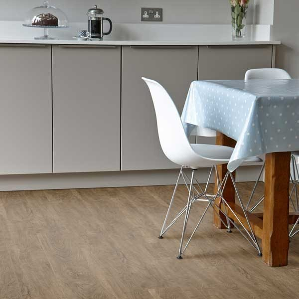 oak effect floor in a dining room