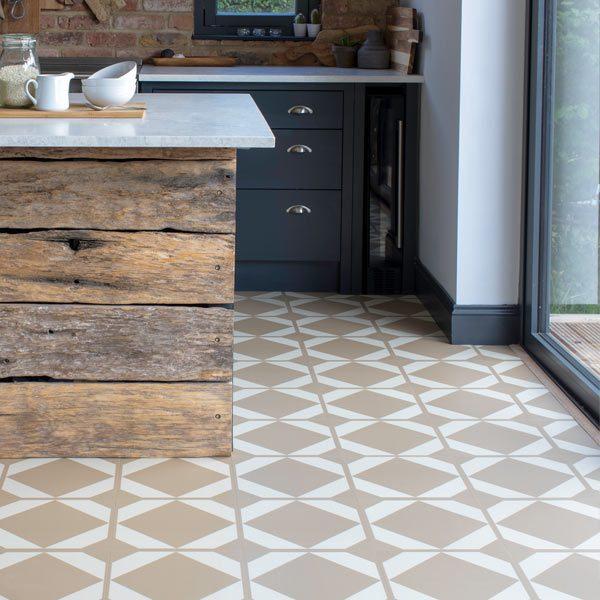 Ochre kitchen floor tiles in a modern room