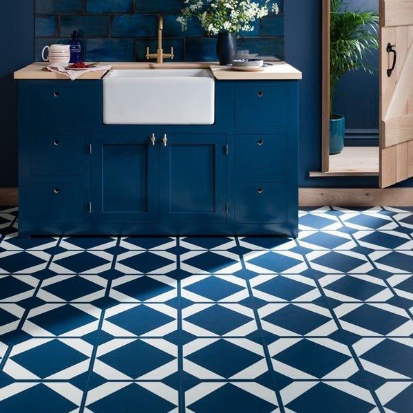 Deep blue kitchen with blue decorative floor tiles