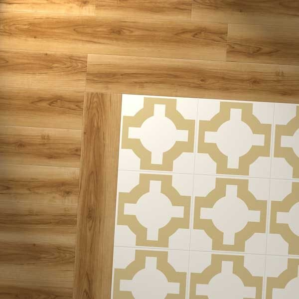wood plank combination with gold parquet design