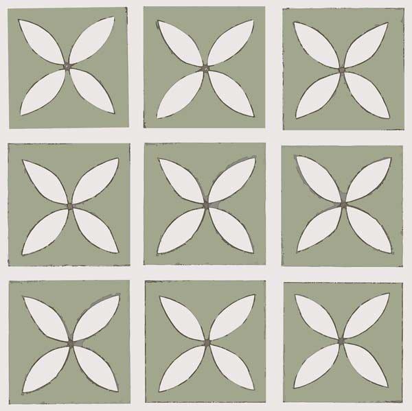 green decorative floor tile