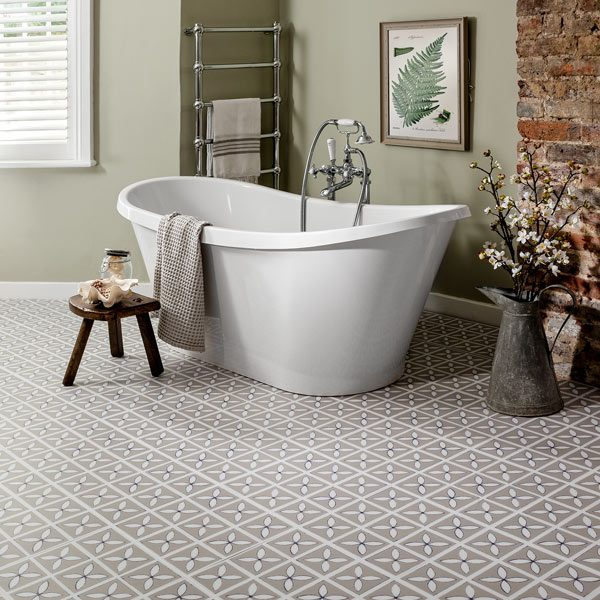 Pebble Grey floor tiles in a bathroom
