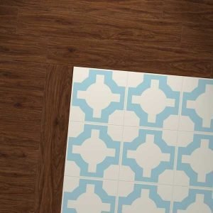 pecan wood vinyl and sky blue design