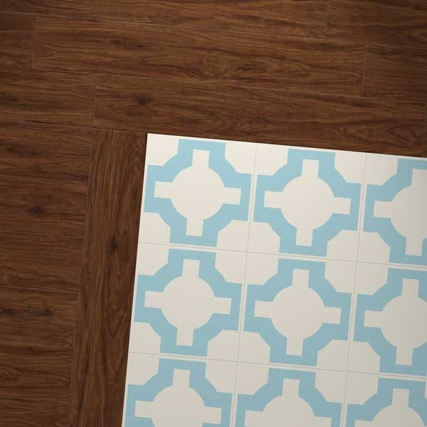 pecan wood vinyl and sky blue design