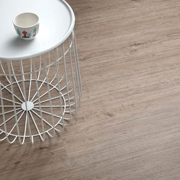 wood plank vinyl with white side table