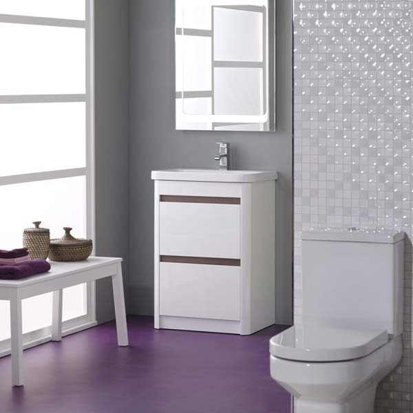 Purple flooring in a white modern bathroom