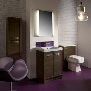 Purple vinyl flooring in a stylish bathroom