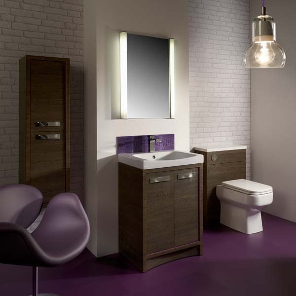 Purple vinyl flooring in a stylish bathroom
