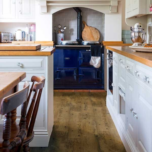 kitchen flooring - reclaimed pine vinyl planks