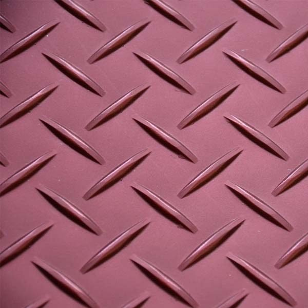 Red tread plate vinyl floor