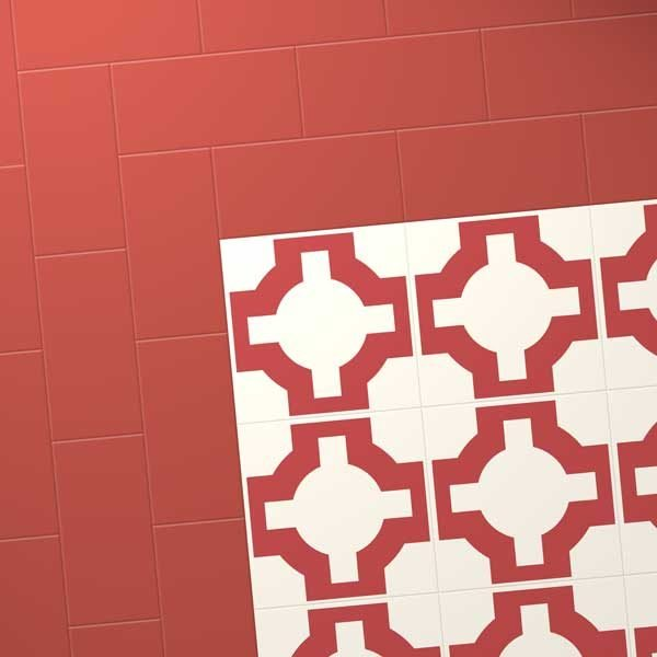 Red vinyl designer flooring with border
