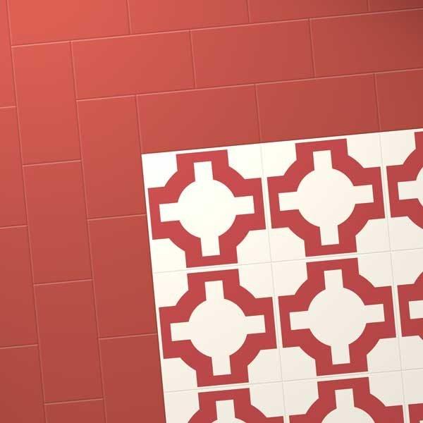Red vinyl designer flooring with border