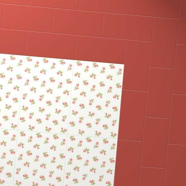 Rose patterned floor with red vinyl border