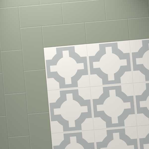 green tile combo with designer sage floor