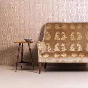 neutral plain floor tile with statement sofa