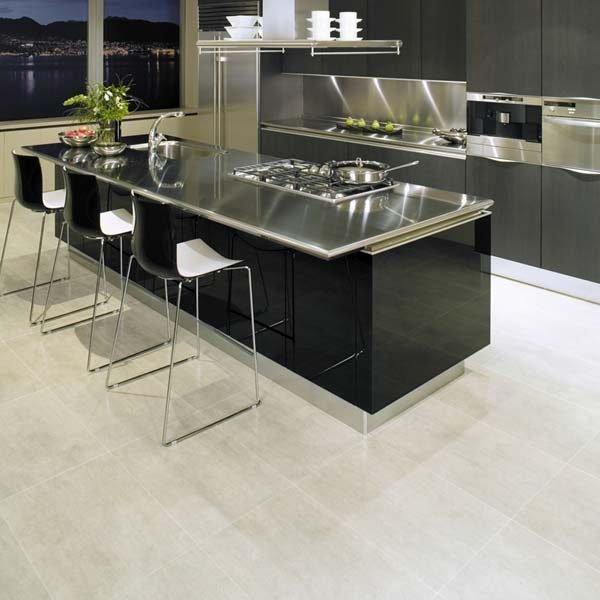 Sandstone vinyl flooring in a kitchen