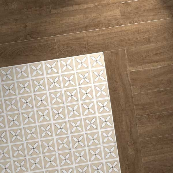 oak effect planks with cream designer tiles