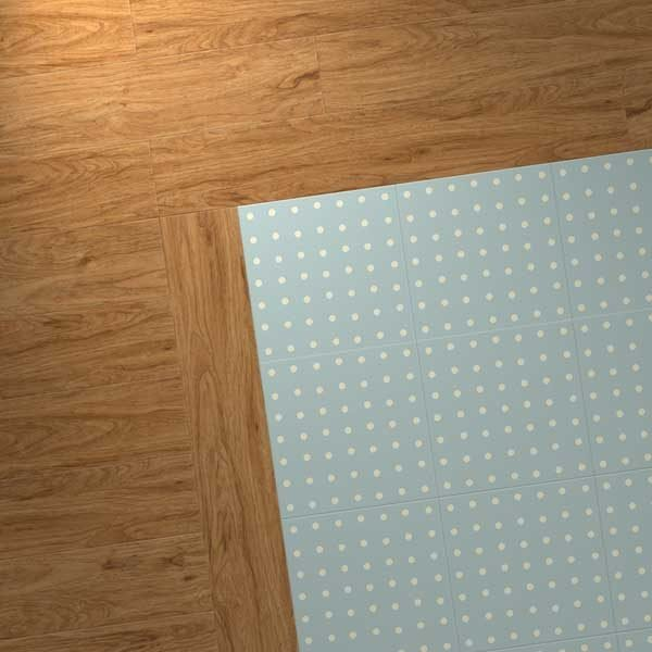 scrubbed pecan vinyl planks with spot blue design