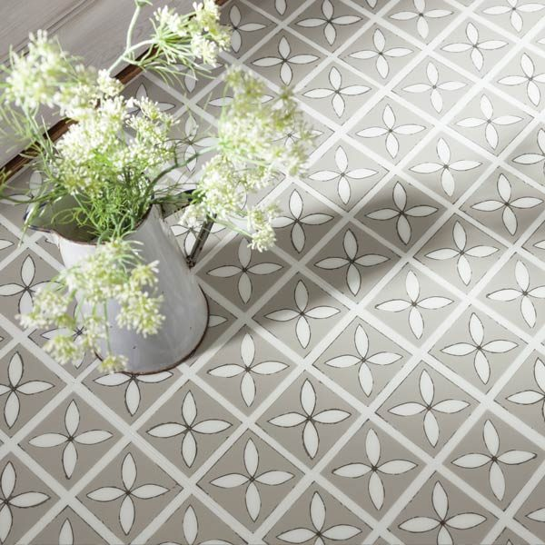 grey decorative floral tiles with flowers