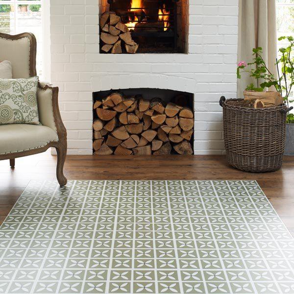 Vinyl wood border around green petal design tiles