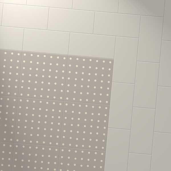 coloured tile border with spot stone design
