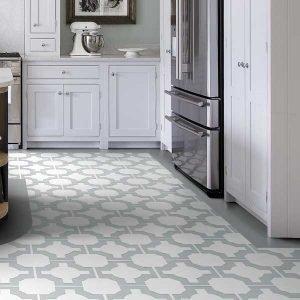 grey vinyl floor border in a kitchen