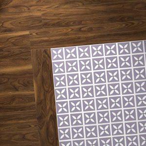 walnut wood vinyl combo with purple flooring