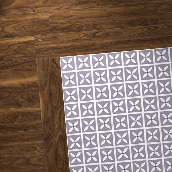 walnut wood vinyl combo with purple flooring