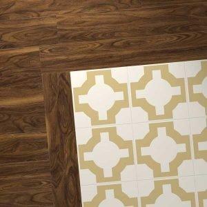 dark wood combo with gold parquet design