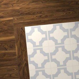 walnut plank perimeter with lilac floor design