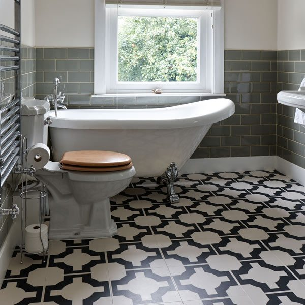 White and black bathroom floor