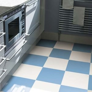 White and blue vinyl checkerboard floor