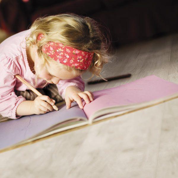 White oak floor child drawing