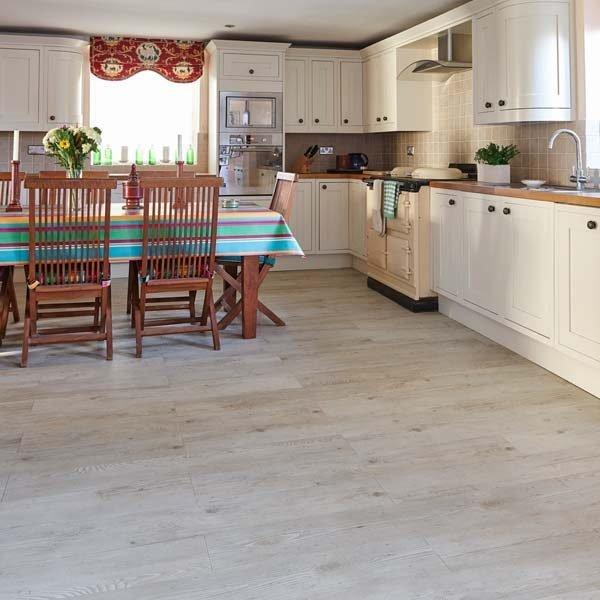 Kitchen with white oak vinyl flooring