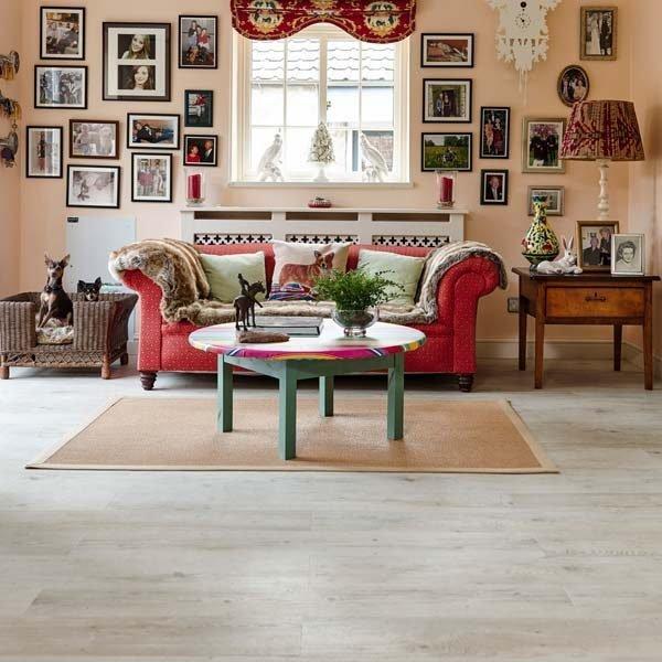 White oak vinyl flooring in a living room