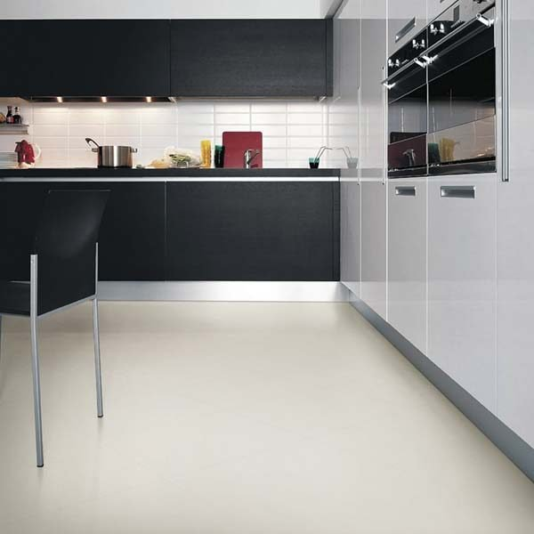 White vinyl flooring in a kitchen