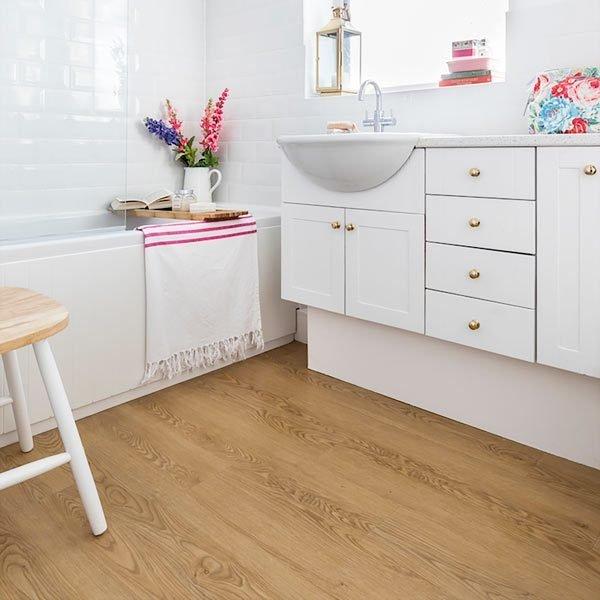 Wooden plank bathroom floor tiles